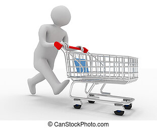 3d person with shopping cart