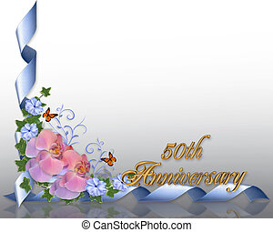 50th, anniversario, bordo, orchidee
