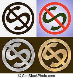 No dollar signs - Four no dollar signs in various design