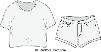 T-shirt and shorts set sketch, swag style. Clothes,...