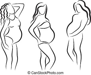 pregnant woman silhouette, isolated vector symbol