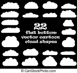Cloud vector icons isolated over black background, cartoon...