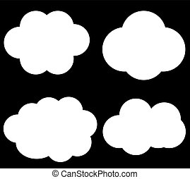 Cloud vector icons isolated over black background, white...