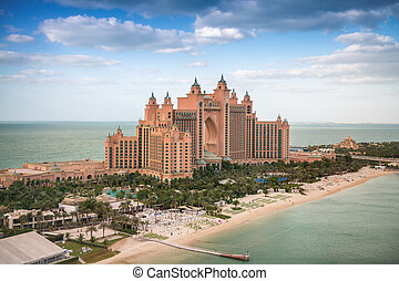 DUBAI, UAE - DECEMBER 10: Panorama aerial view of Atlantis the Palm. It is a luxury 5 star hotel in Dubai, UAE on December 10, 2016