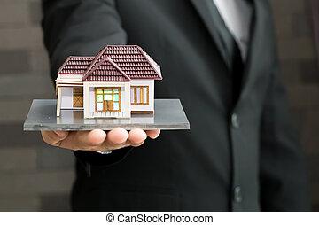 verklig, begrepp, egendom, lån, modell, holdingen, affärsman, Hem