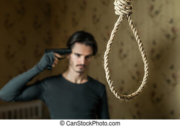 Man commit suicide with a shot in the head. - Suicide...