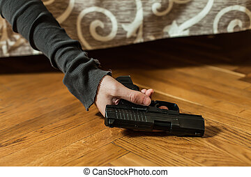 Depressed man commit suicide with gun shot. - Suicide...