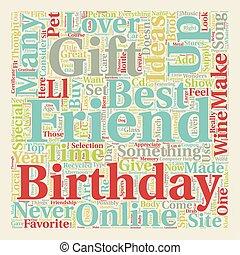 Best Friend Birthday Gift Ideas text background wordcloud...