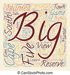 Big Five Animals In South Africa text background wordcloud concept