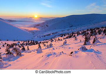 Colorful winter sunrise in the mountains. - Colorful winter...