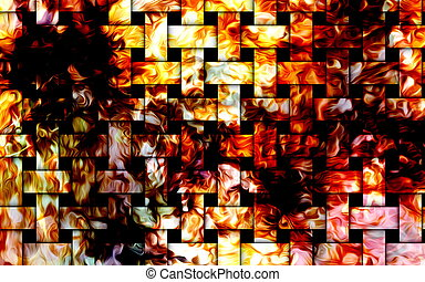 Fire flames background, mosaic structure. Computer collage....