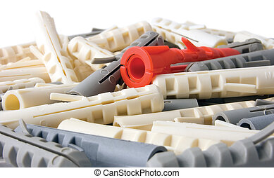 Nylon wall plugs, isolated background - Nylon wall dowel...