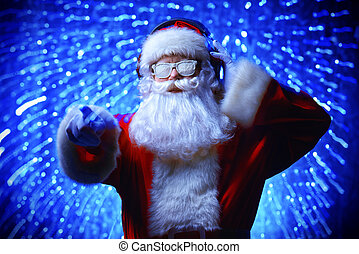star sky party - DJ Santa Claus in snowy glasses and...