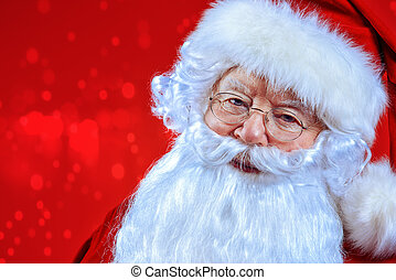gray-haired Santa - Christmas concept. Close-up portrait of...