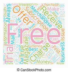 Buyer Beware Free Magazine Trials text background wordcloud...