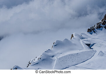 mountains with precipice - mountains with snow and steep...