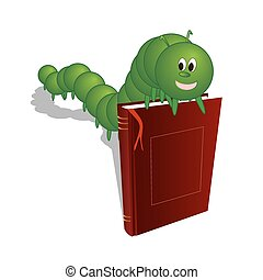 caterpillar on a book - Caterpillar on the book, vector art...