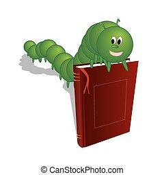 caterpillar on a book - Caterpillar on the book, vector art...