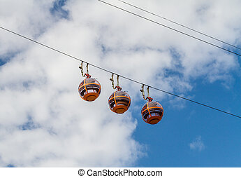 Cable Car in Haifa, Israel - Cable Car on background of blue...