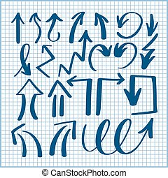 set of hand drawing isolated arrows collection on lined sheet