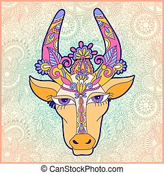 pongal floral paisley pattern with cow to occasion of south...