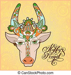 happy pongal handwritten ink lettering inscription on floral...