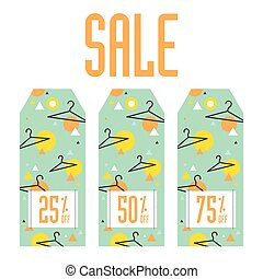 Set of sale tags. Different discount value