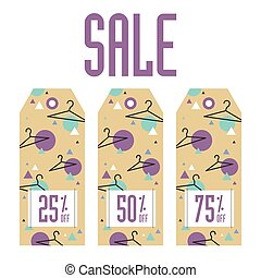 Set of sale tags. Different values discount