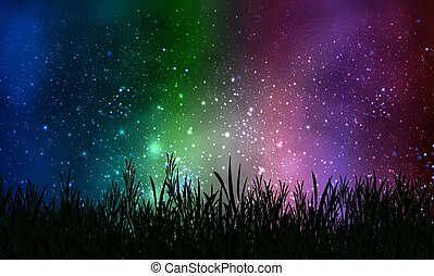 grass on the background of cosmic night sky