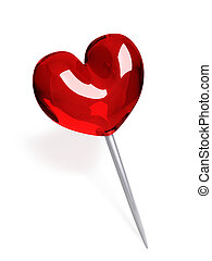 Red glass push pin in the shape of heart isolated on white...