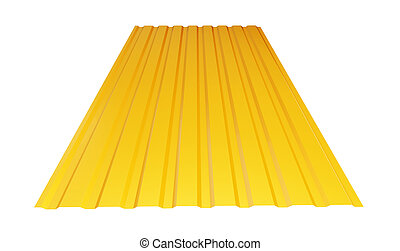 yellow corrugated metal sheet on white background. 3d...