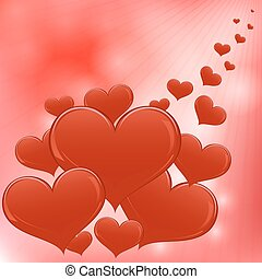 Red hearts Valentine day vector background.