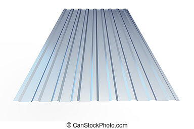 corrugated metal sheet on white background. 3d Illustrations