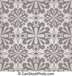 Seamless dark brown flower buds retro vector pattern.