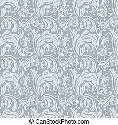 Seamless gray winter colored floral vector pattern.