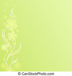 Abstract light green flower spring background with copy space.