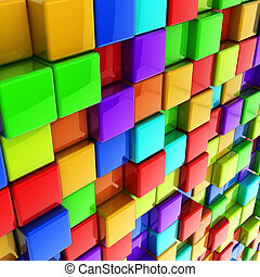 3d colorful glossy cubes wall background.