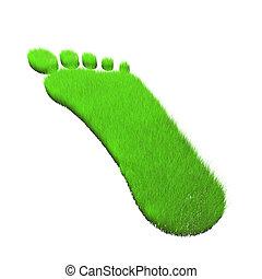 3D green grass in form of footprint.