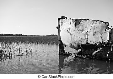 abandoned fishing and shrimp boat near folly beach south...