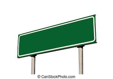 ブランク, 緑, 隔離された, 道, 印