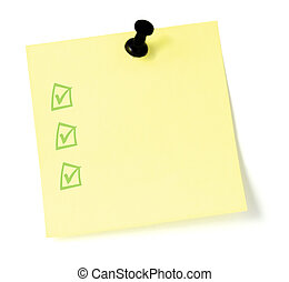 Yellow Checklist With Pushpin - Blank Yellow Post-It To-Do...