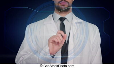 Medical Doctor pushing a blue icon blue background. molecule medicine capsule