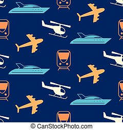 Vector seamless pattern with transportation icons...