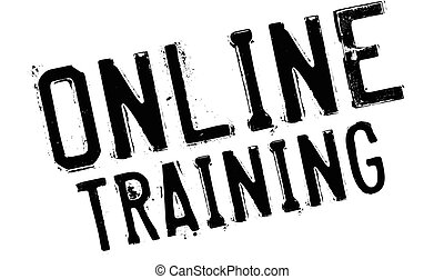 Online training stamp. Grunge design with dust scratches....