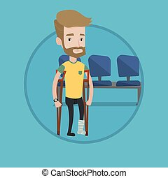 Man with broken leg and crutches. - An injured hipster man...