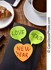 text new year and words love and health
