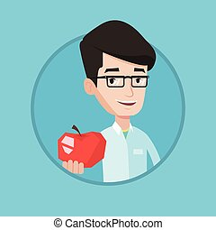 Nutritionist offering fresh red apple. - Young caucasian...