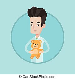 Pediatrician doctor holding teddy bear. - Young caucasian...