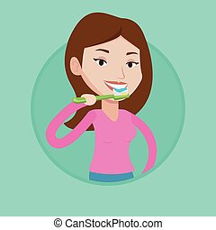 Woman brushing her teeth vector illustration. - Caucasian...