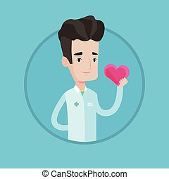 Doctor cardiologist holding heart. - Cardiologist in doctor...